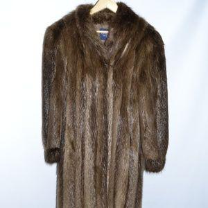 BLOOMINGDALE'S BEAVER LONG HAIR FUR COAT SIZE L